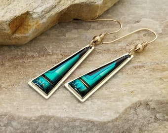 Vibrant Blue, Gold, & Teal Triangle Earring, Handcrafted Modern Metal Jewelry, Presents For Her, Gifts - Bermuda Earrings by Jon Allen