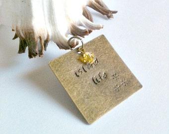"Metal Stamped Bronze Pendant Handmade With Swarovski Crystal Charm, ""Island Life"""