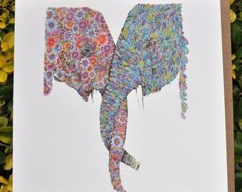 Entwined Elephants Greeting card 6 x 6''