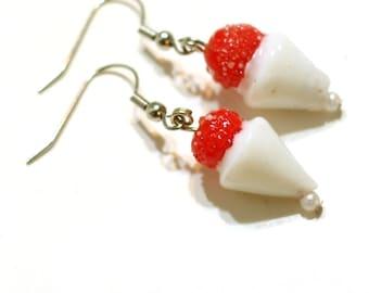 Red Snowcone Glass Lampwork Bead Earrings - Summer Trend Earrings - Shaved Ice Earrings, leverback, 925 sterling silver, clip on dangle
