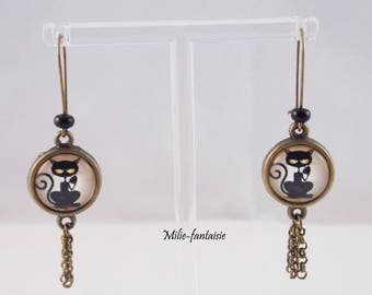 "Bronze earrings with cabochon ""black cat"""