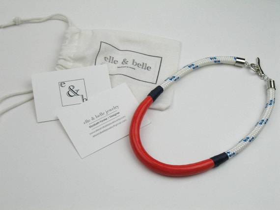 Nautical Rope Necklace in White and Blue Boating Cord with Coral Enamel