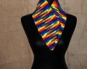 Crocheted Rainbow Cowl