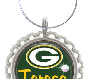 Set of 6 - PERSONALIZED WINE CHARMS - Go Packers - Perfect For Party Favors