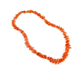 Vintage Coral Neckalce Genuine Branch Coral Necklace 1970's Retro Coral Necklace Coastal Beach Jewelry