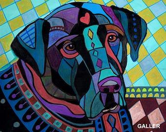SALE NOW- bLACK Labrador Retriever Art dog  Art Print Poster by Heather Galler Lab (Hg190)