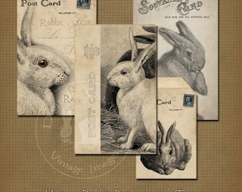 Vintage Kaninchen Postkarten und Tags sofortiger digitaler Download