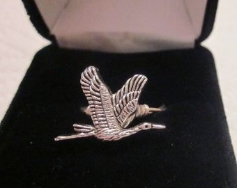 Canadian Geese Pewter Button Ring, Button Ring, Wire Wrapped