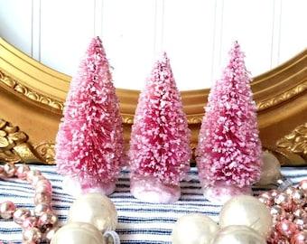 "3 raspberry pink bottle brush trees vintage style mica glittered magenta 4"" tree  Romantic Shabby Cottage Christmas Holiday decor"