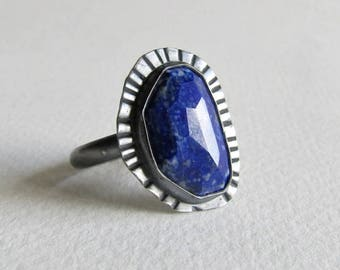 Lapis Lazuli Ring with Textured Silver - Size 8 Ring - Lapis Lazuli Jewelry - 25th Anniversary Gift - Womens Birthday Gift