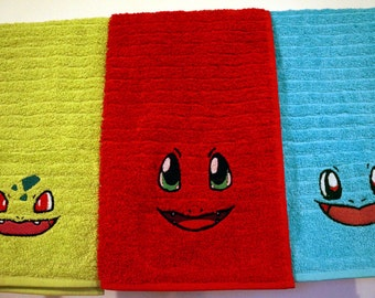 Kanto Starters Embroidered hand towels Bulbasaur Charmander Squirtle