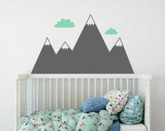 Mountain Wall Decal - Nursery Decal, Mountain Decals, Kids Room Decal, Woodland Nursery, Nursery Wall Decor, Cute Wall Sticker