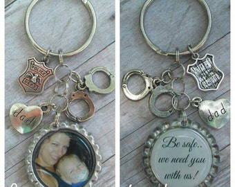 Police Officer Gift - Keychain for Dad - Keychain for Mom - Keychain Gift - Personalized Keyring - Custom Photo Keyring - Picture Keychain