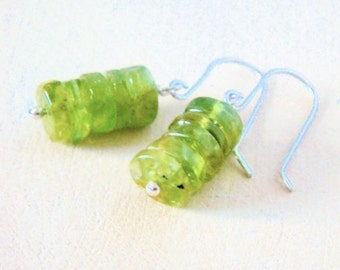 Lime Stack Earrings- peridot and sterling silver
