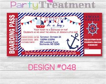 Nautical Baby Shower Boarding Pass Invitation 048