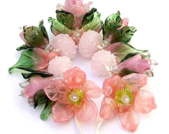 Romantic Pink and Green Bouquet of Roses, Lampwork Glass Flower Beads for Jewelry Making, Set of 17 Pink and Green Flowers Made to Order !