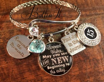 RETIREMENT Gifts, Happy Retirement, Retirement wishes, may you see the new beginning to this ending, teacher retirement gift, CHARM bracelet