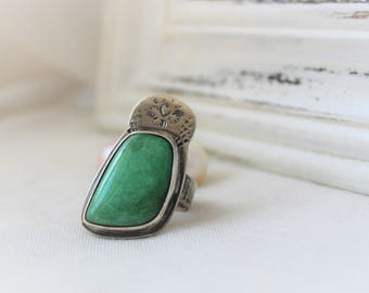Utah Variscite Ring in Oxidized Sterling silver - READY TO SHIP - Size 6.5