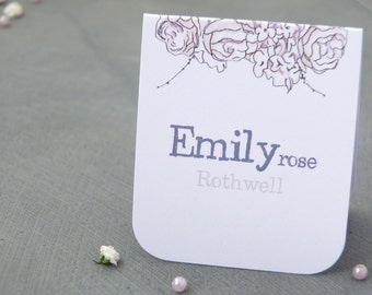 Hand Drawn Pink Rose Wedding Place Name Card Sample
