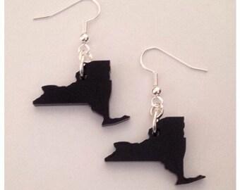 New York Shape State Earrings - Laser Cut Black Acrylic Plastic - State Jewelry