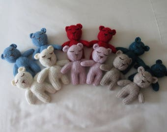 Hand Knitted Mini Teddy Bear Mohair Kidsilk Newborn Photography Prop