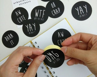 Cute Stickers - 12 pcs of Cool Funny Urban Language Stickers for Diary, Journal, Scrapbooking