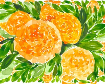 Warm Yellow Floral Abstract Original WATERCOLOR Painting