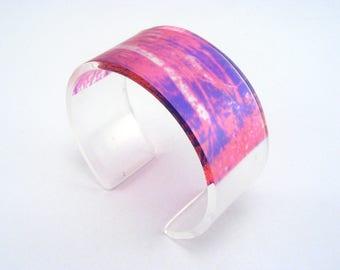 Perspex Bangle Bright Pink - Modern Pink Cuff -  Fuschia Pink Bangle - Pink Woodland Bracelet - Acrylic Bangle - Perspex pink purple cuff