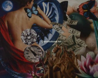 Original Collage Art Print , Money Shower
