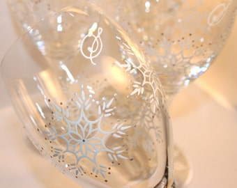 Snowflakes Wine Glasses Iced Tea Water Goblets Winter Holidays Christmas Personalized Hand Painted White Silver Gray Grey Frost Frozen Ice