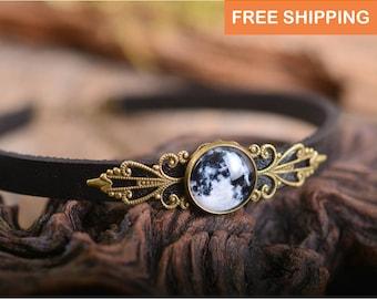 Choker necklace, full moon choker, moon necklace, black choker, leather choker, moon choker necklace, full moon, birthday gift for women