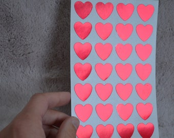 Leaf print 28 red hearts labels stickers stickers 1.9 x H1, 6 cm for packaging gifts.