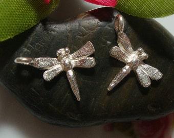 Artisan Handmade Sterling Silver 3D Dragonfly Charm, Tiny Pendant,13x9 mm, 4 pcs - PC-0152