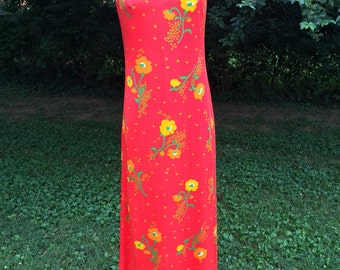 Vintage orange/red 70s long floral summer dress/handmade/small/medium