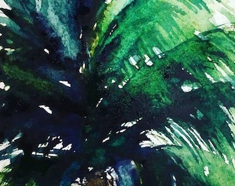 PINWHEEL PALM Limited Edition Watercolor Print by Victoria Anderson