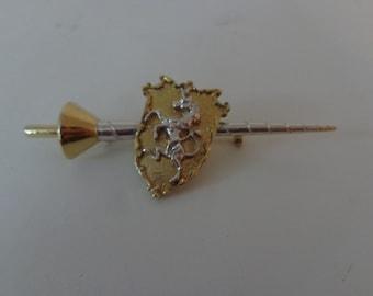 Vintage Long Crest Brooch, Vintage Brooch, Long Brooch, Crest Brooch, Vintage Unique Silver Tone Brooch, Gold Tone Brooch, Crest Jewelry