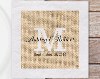 100 Luncheon Napkins, Custom Paper Luncheon Napkins W/ Rustic Burlap Print And Monogram W/ Couples Names & Wedding Date   Quantity Discounts