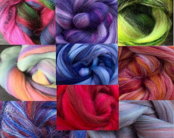 Merino Felting Wool in Varigated Colours (approx 15 gms)