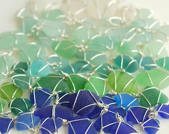 tiny seaglass charm - sterling silver eco friendly sea glass jewelry