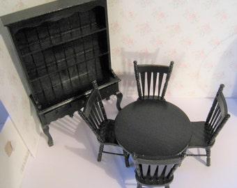 Dollhouse SALE, Black  Hutch, black table, chairs, , dining room dresser,  Black elegance ,  , , twelfth scale, dollhouse miniature