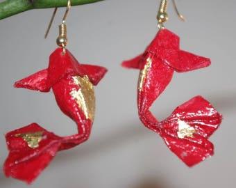 """Earrings """"carp"""" red - Golden Leverbacks (CAR_003)"""