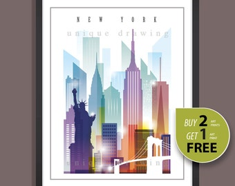 New York, New York skyline, New York landmarks, New York cityscape, New York poster, New York print, New York painting, Wall art, deco, 4112
