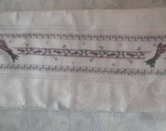 Lavender hand embroidered towel