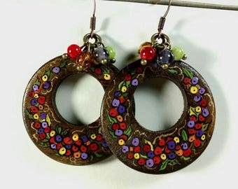 Wooden Hoop Dangle Earrings, Berries and Leaves, Purple, Red, Yellow, Orange Berries, Bright and Vibrant Earrings with Bead Charms