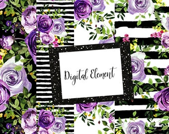 Digital Mini Paper Set, Purple Floral Paper, Black Stripes, Lavender Rose Paper, Rose Wallpaper, Digital Backdrop. No. PM100