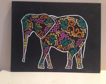 Elephant outline canvas painting