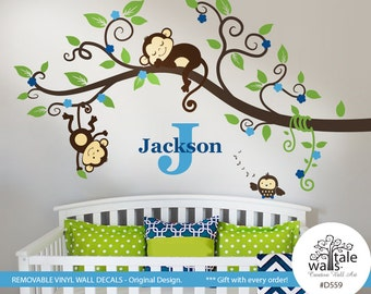 Boy Jungle Monkey Wall Decal with one baby owl for nursery decor. Two Monkeys Tree branch wall decal - SALE-d559a