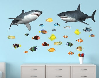 Shark Wall Decal, Ocean Decals, Tropical Fish Stickers (SharkF)