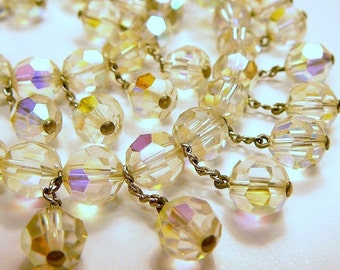 Vintage Crystal Bead Choker Necklace faceted  16 inch
