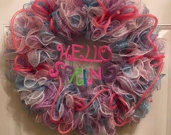 Spring wreath, Springtime, Spring front door wreath, Hello Spring wreath, Spring Decor